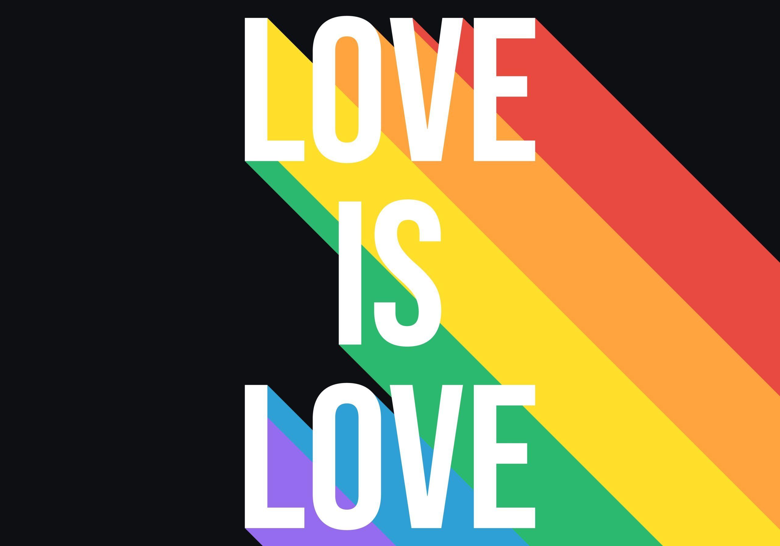 Love,Is,Love,Pride,Month,Rainbow,Flag,Typography.,Lgbtq,Pride